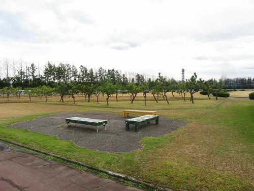 金沢競馬場の内馬場のベンチ