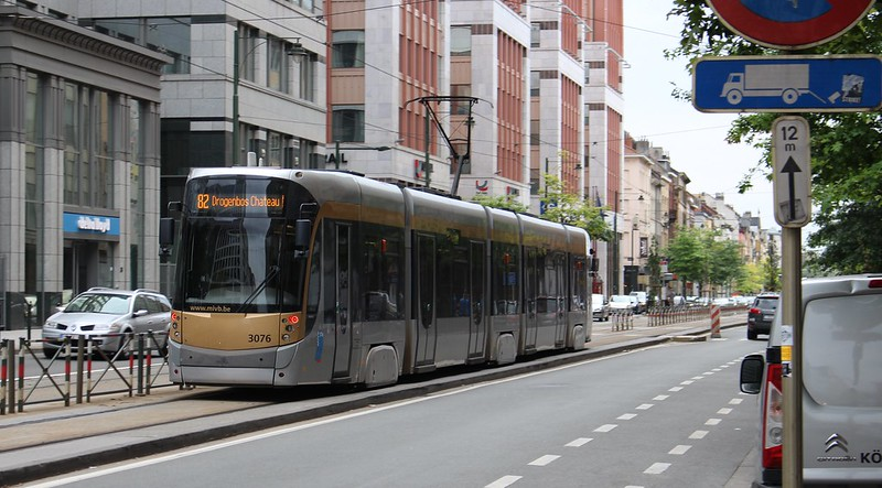 Separated tram track on Avenue Fonsny, Brussels
