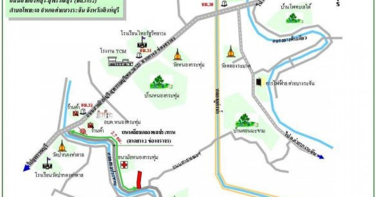 Map of Khai Bang Rachan District, Thailand.