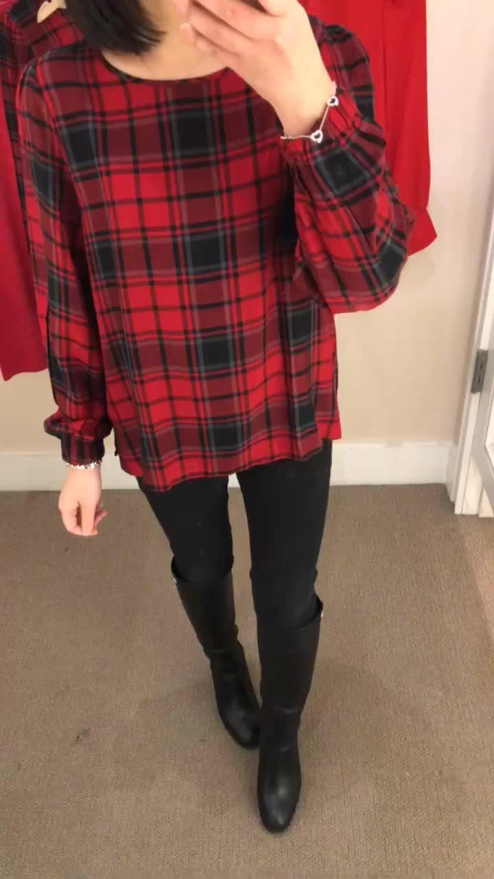LOFT Plaid Blouson Sleeve Top, size SP