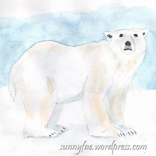 polar bear watercolour sketch 1