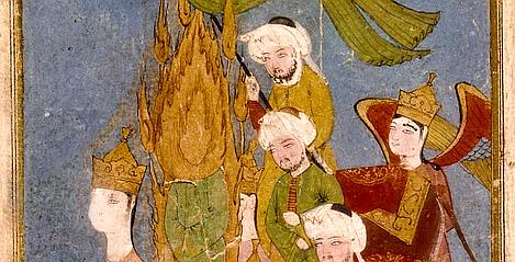 Muhammad with the three Caliphs Abu Bakr, Umar and Uthman ibn Affan in Persian Miniature