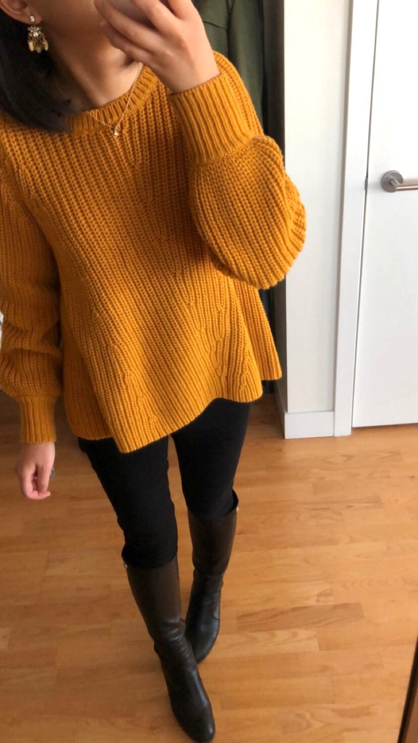LOFT Mixed Rib Blouson Sleeve Sweater, size XS regular