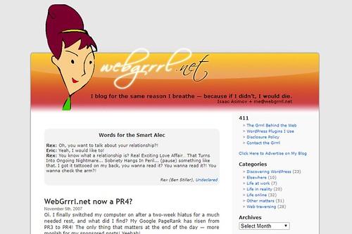 WebGrrrl.net circa 2007