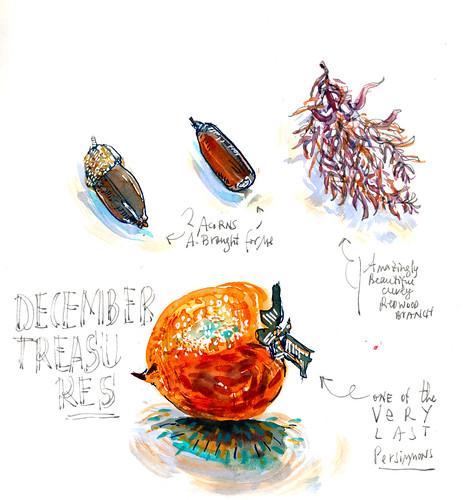 Sketchbook #110: The Last Persimmons - Watercolor
