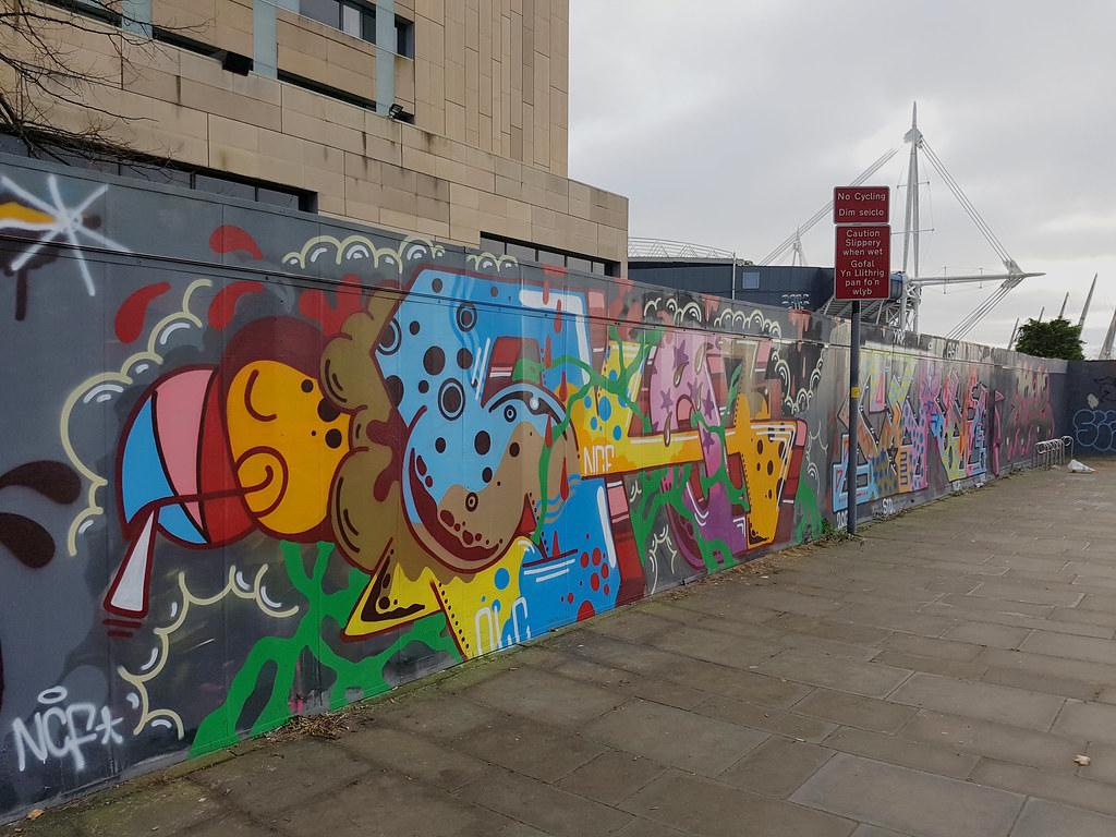 Cardiff Street art, millennium walkway.