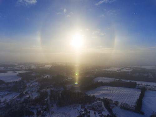 beautiful morning sunrise sunstar dust stardust peace peaceful halo sundogs 2017 nature rainbow snow snowing cold arctic frozen aerial aerialphotography dronephotography drone drones dji djiphantom4 phantom4