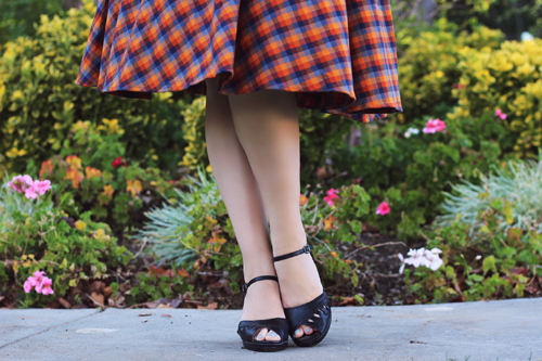 Retrolicious Madison Skirt in Orange Plaid