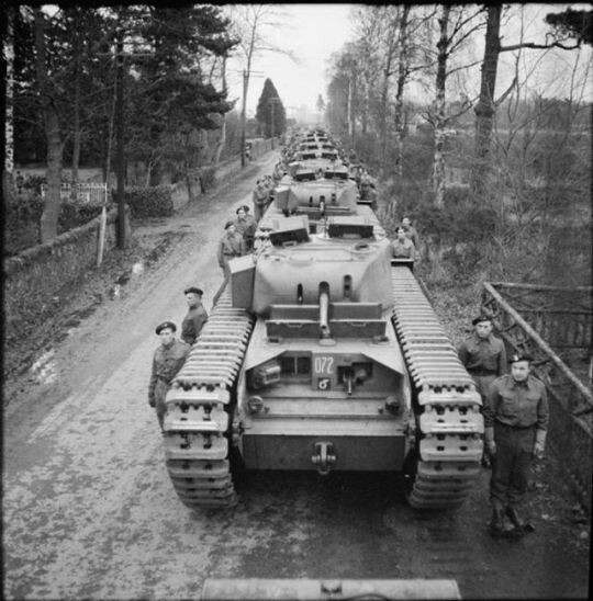 Line-up Churchill Mk II cisterne