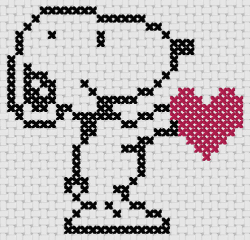 Preview of Cross stitch simple cartoon: Snoopy Heart
