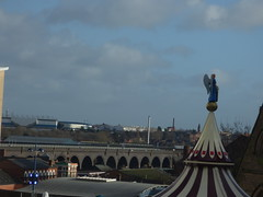 Bordesley Viaduct from the Bullring Birmingham with the carousel
