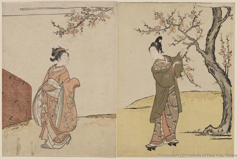 鈴木春信《桃の小枝を折り取る男女》(1766年) William Sturgis Bigelow Collection, 11.19448,11.19506