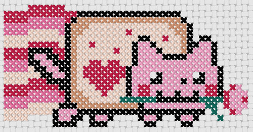 Preview of Cross stitch simple anime: Valentine Nyan Cat
