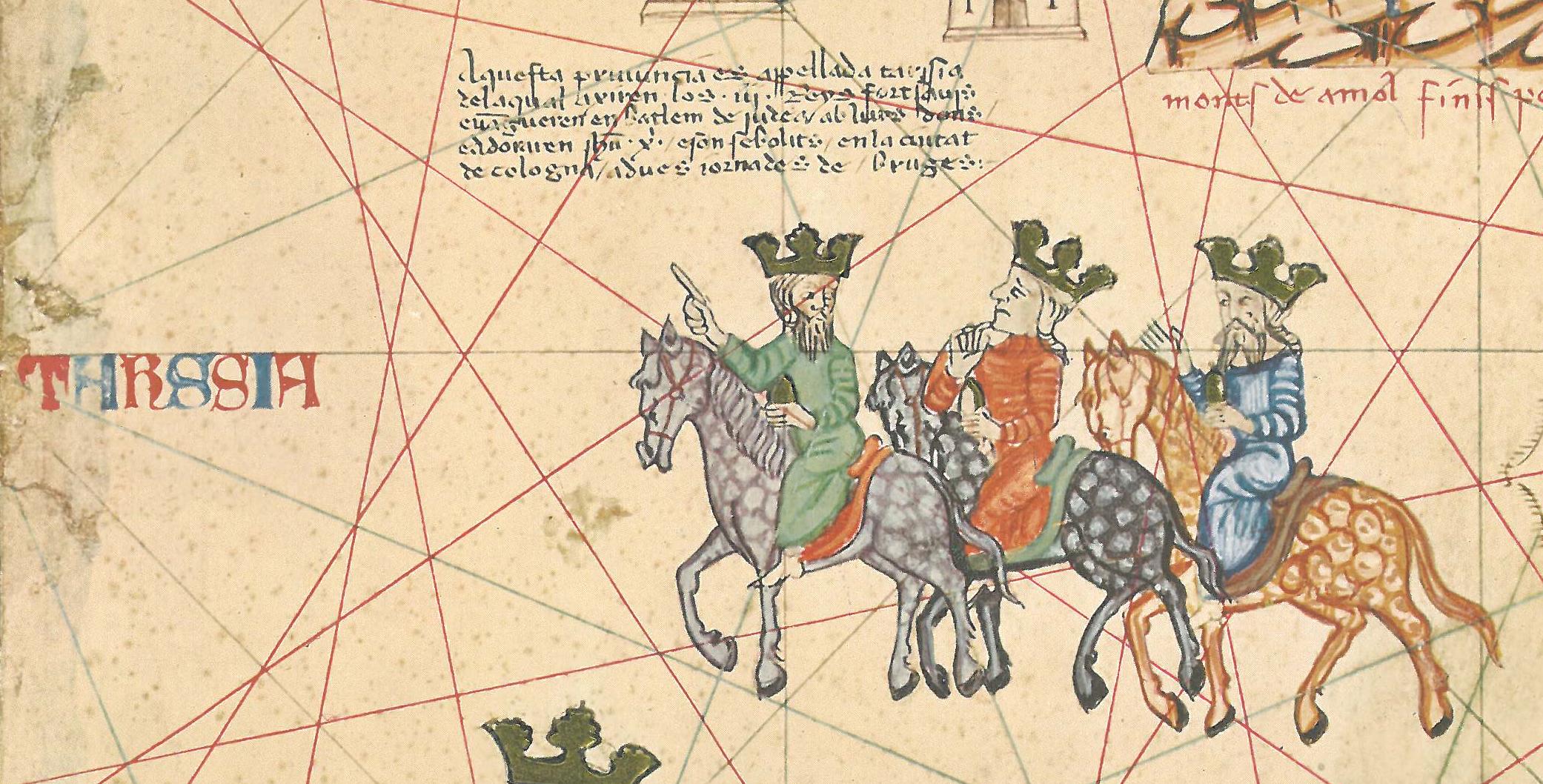 The Three Wise Kings, Catalan Atlas, 1375, fol. V: