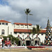Christmas decorations in front of Honolulu Hale