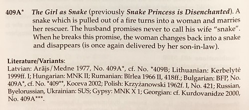 Text of Uther 2004 on Girl as Snake, motif or tale type from Aarne-Thompson-Uther ATU folklore classification system