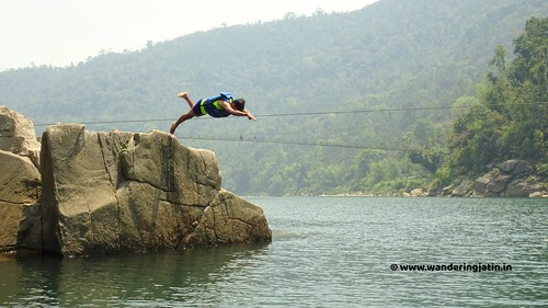 Diving in a river in Meghalaya
