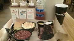 BBQ Brisket, sides, and sauces.