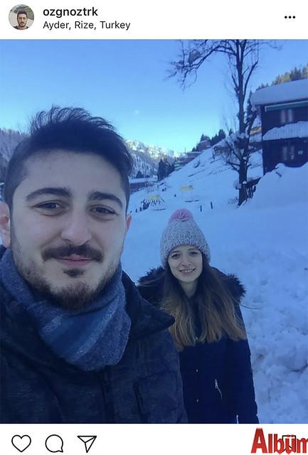 Özgün Öztürk, Merve Ünlü ile birlikte Rize'de kar keyfi yaptı.