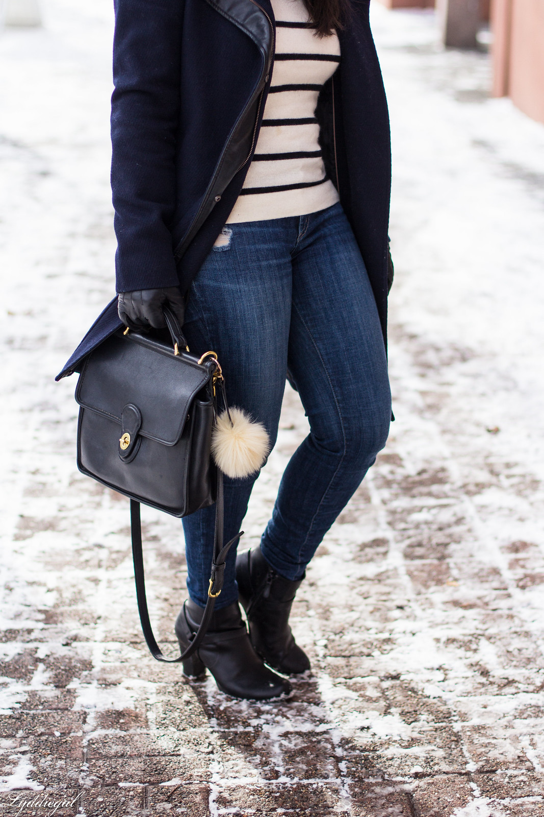 striped sweater, navy wool coat, pom pom hat, coach willis bag-17.jpg