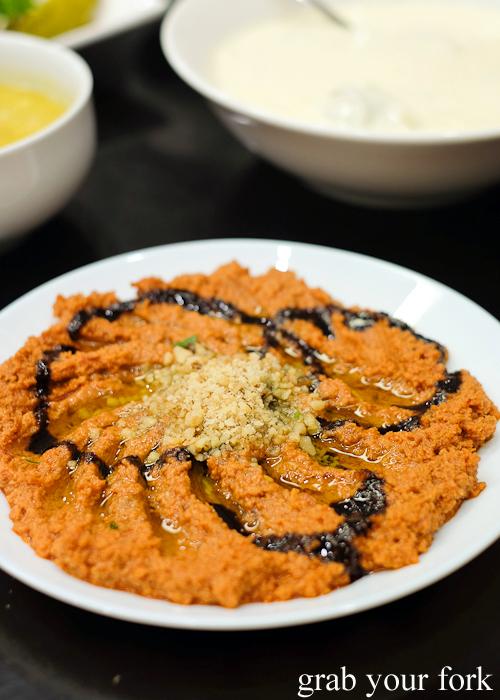 Muhamara walnut and red capsicum dip at Al Shami in Merrylands