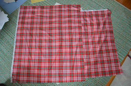 Make a quilt backing large enough to cover the quilt top (this is 1.5 yards, cut slightly and resewn).
