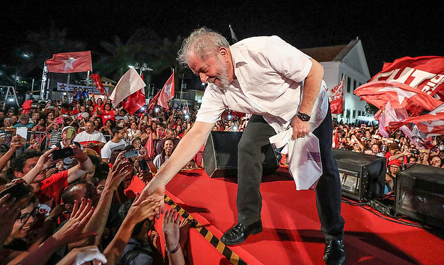 """Petista participou de ato em Maricá no último dia 6: """" Tudo que quero na vida é enfrentar  um candidato com logotipo da Globo na testa"""" - Créditos: Ricardo Stuckert/Instituto Lula"""