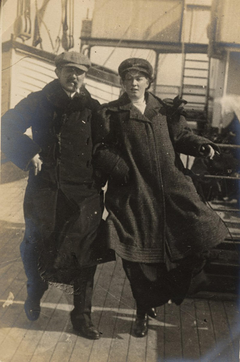 Best to wrap up warm for the bracing trip across the English Channel, 1906