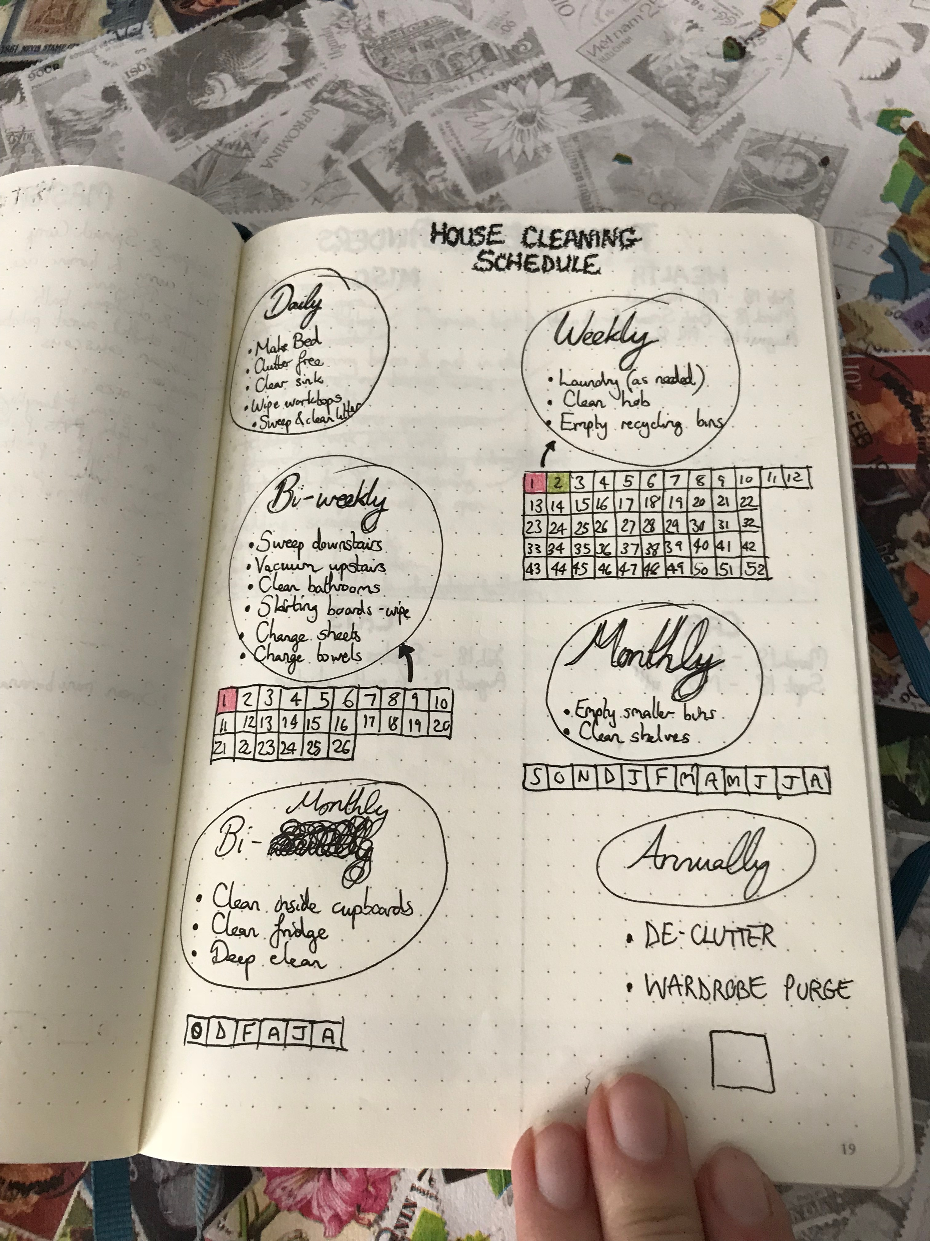 bullet journal setup - cleaning list