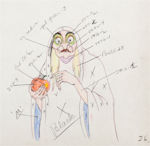 Snow White and the Seven Dwarfs Old Hag Color Model Drawing Walt Disney, 1937 color model drawing of the Old Hag,