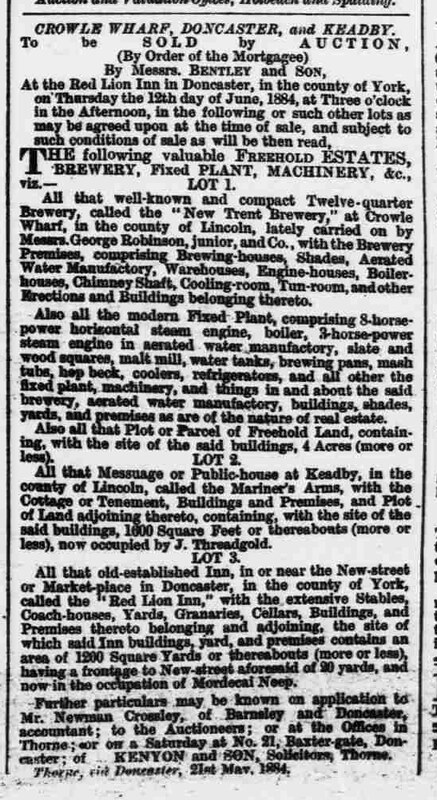 Stamford Mercury Friday 30 May 1884 - New Trent Brewery