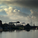 Steam and clouds over Preston Docks