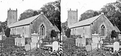 Small church with square battlemented tower in graveyard, showing gravestones inscribed to Turner, Burns, Houston, Snoddy, Harvey etc