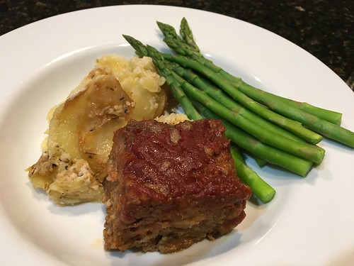 Healthy meatloaf, grassfed, low fat, scalloped potatoes and poached asparagras
