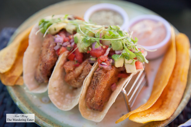 Fried fish tacos  with fried plantain chips