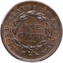 1839 Silly head Large Cent reverse