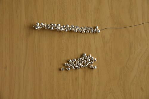 3. Halfway done stringing bells (~35)