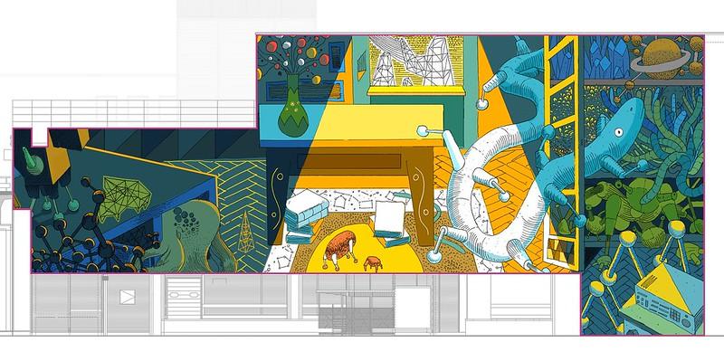 """Projekt muralu """"Krakowskie mieszkanie – Lemomural"""", autor Marcin Czaja"""