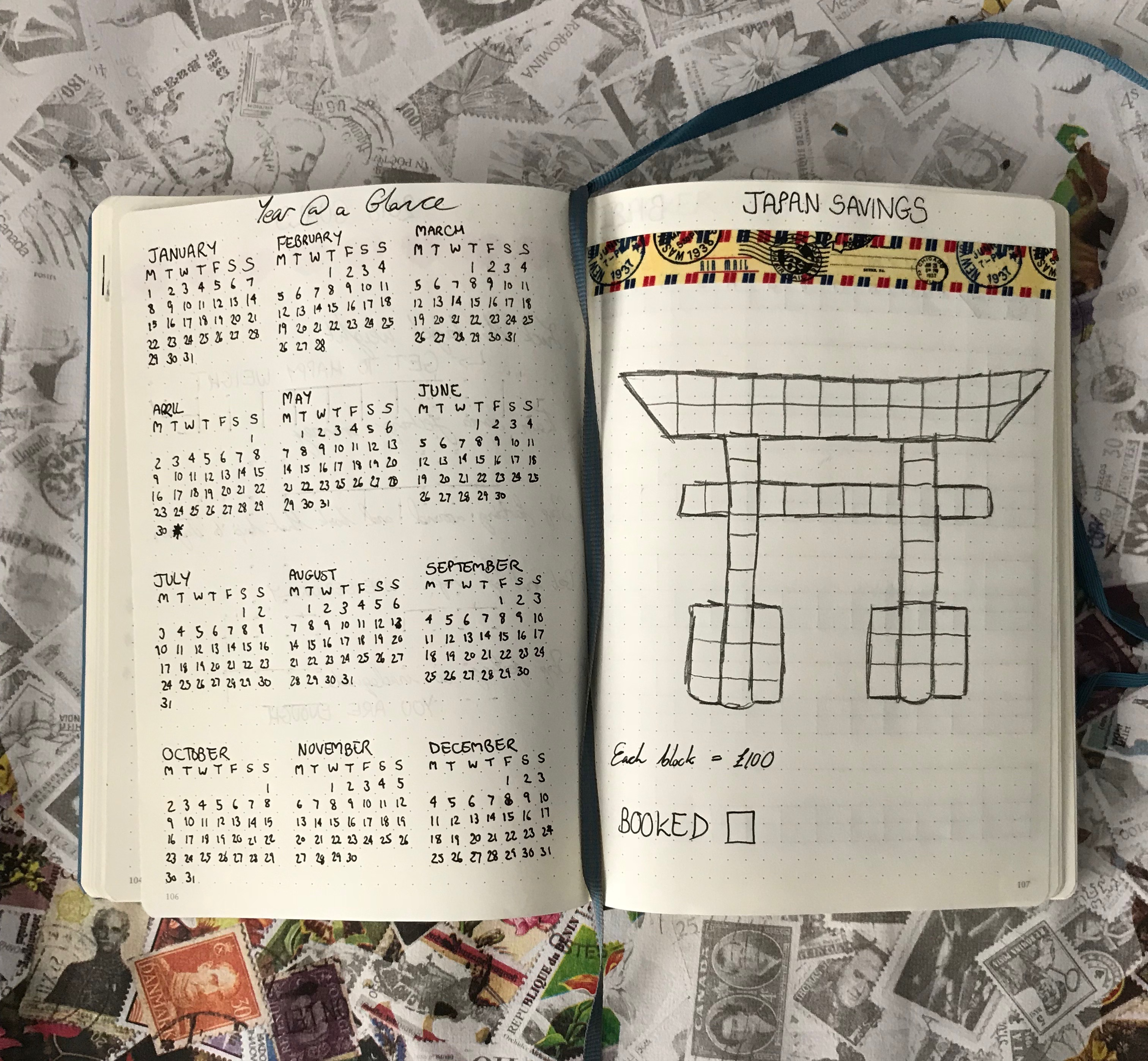 bullet journal setup - calendar & japan savings
