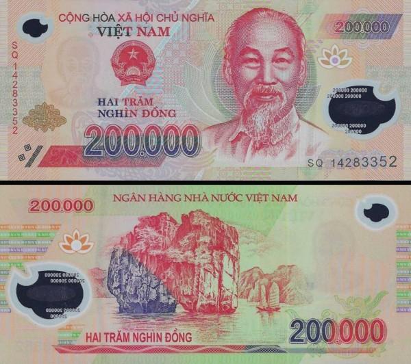 200 000 Dong Vietnam 2014, polymer, P123g