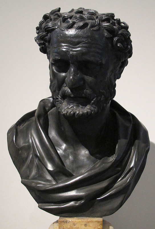 A supposed statue of the philosopher Heraclitus, found in the Villa of the Papyri
