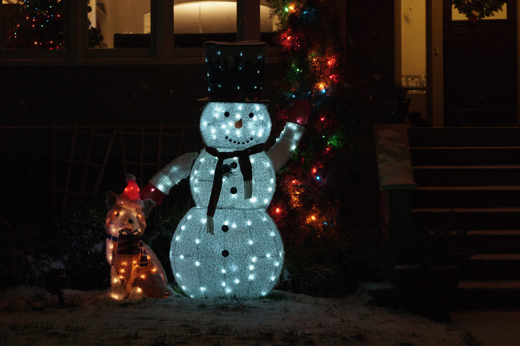 Christmas lights cover a dog and snowman decorations outside a home in the Irvington neighborhood of Portland, Oregon