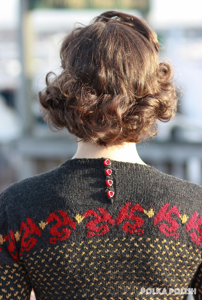 Colorwork dragon knit sweater - buttons
