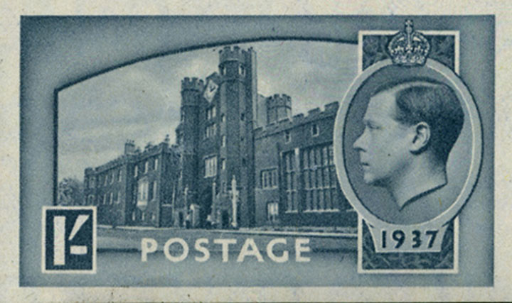 1-shilling grey-blue essay for the unissued Edward VIII issue planned for May 1937.