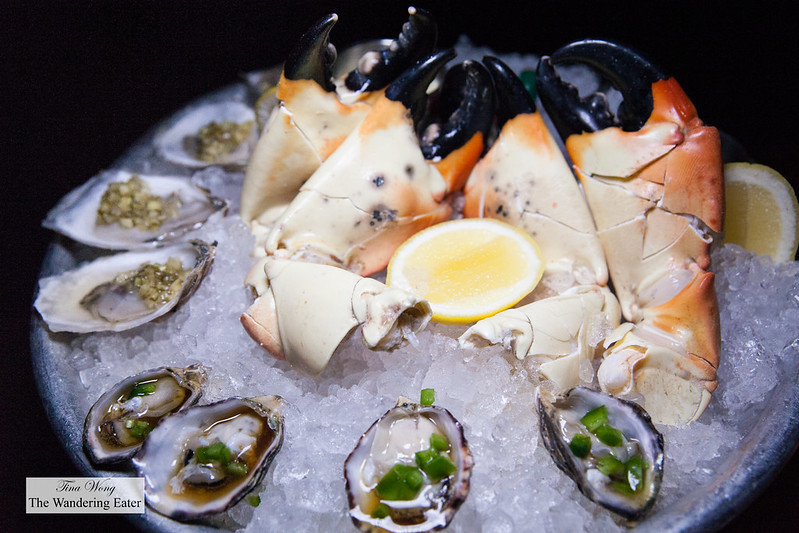 Kusshi Jalapeño and Ponzu and Kumamoto, Wasabi Leaf & Lemon oysters and jumbo Stone crab claws