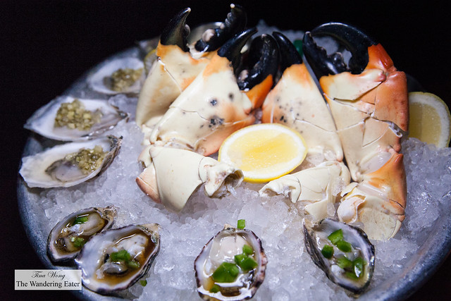 Kusshi Jalapeño and Ponzu and Kumamoto, Wasabi Leaf & Lemon oysters and jumbo Stone crab claws