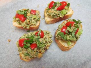 Pesto Chickpea Salad Bruschetta