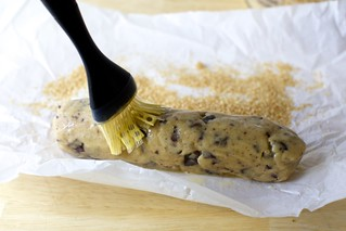 brush the log with egg and roll it in coarse sugar