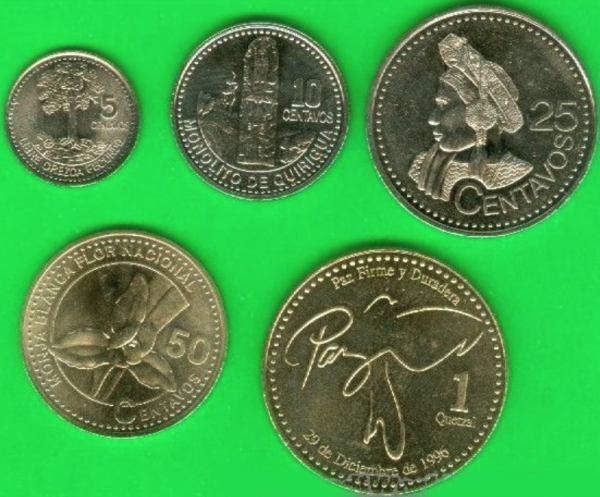 Sada mincí Guatemala 5-10-25-50 Centavos 1 Quetzal 2000-8
