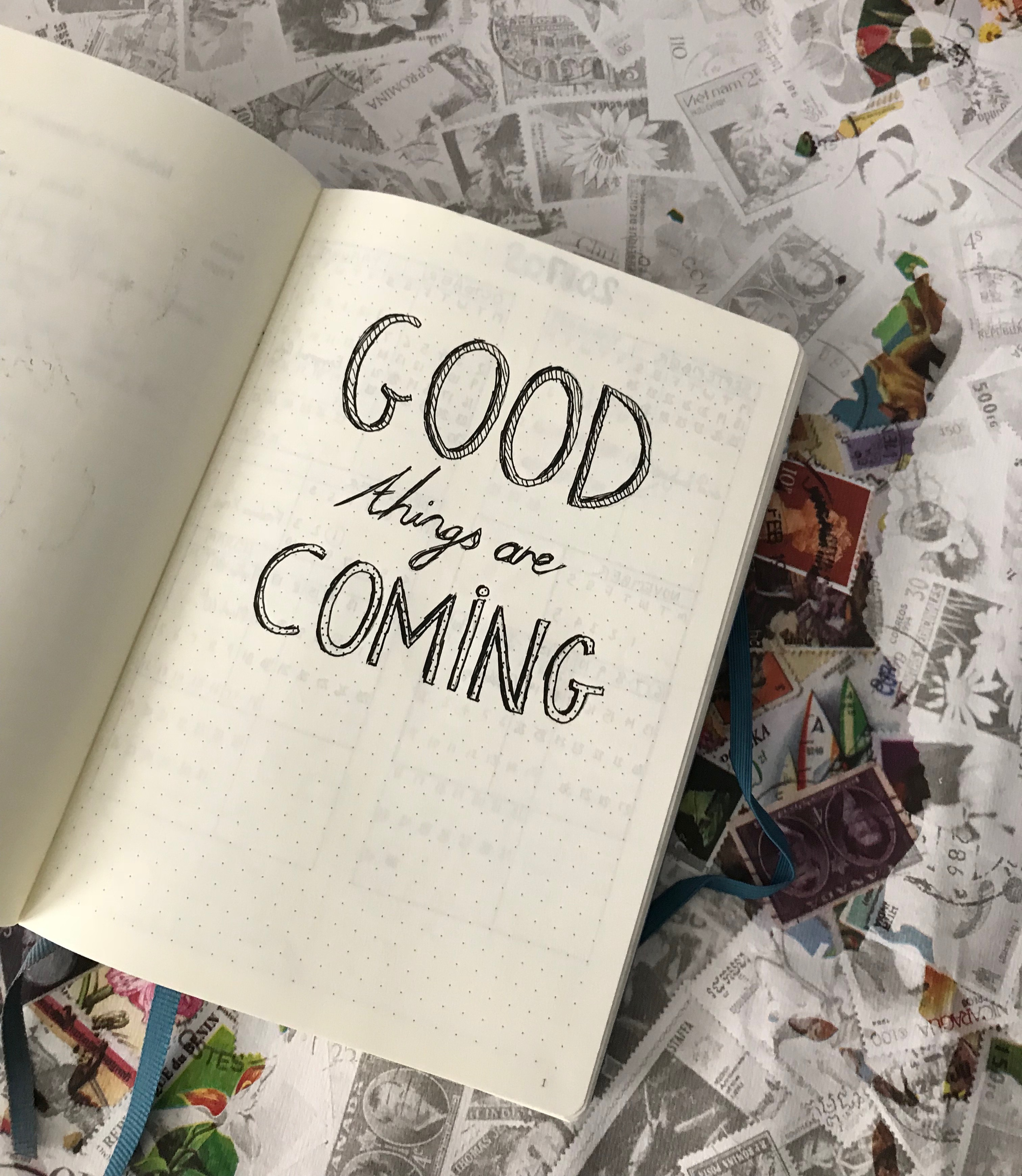bullet journal setup - good things are coming